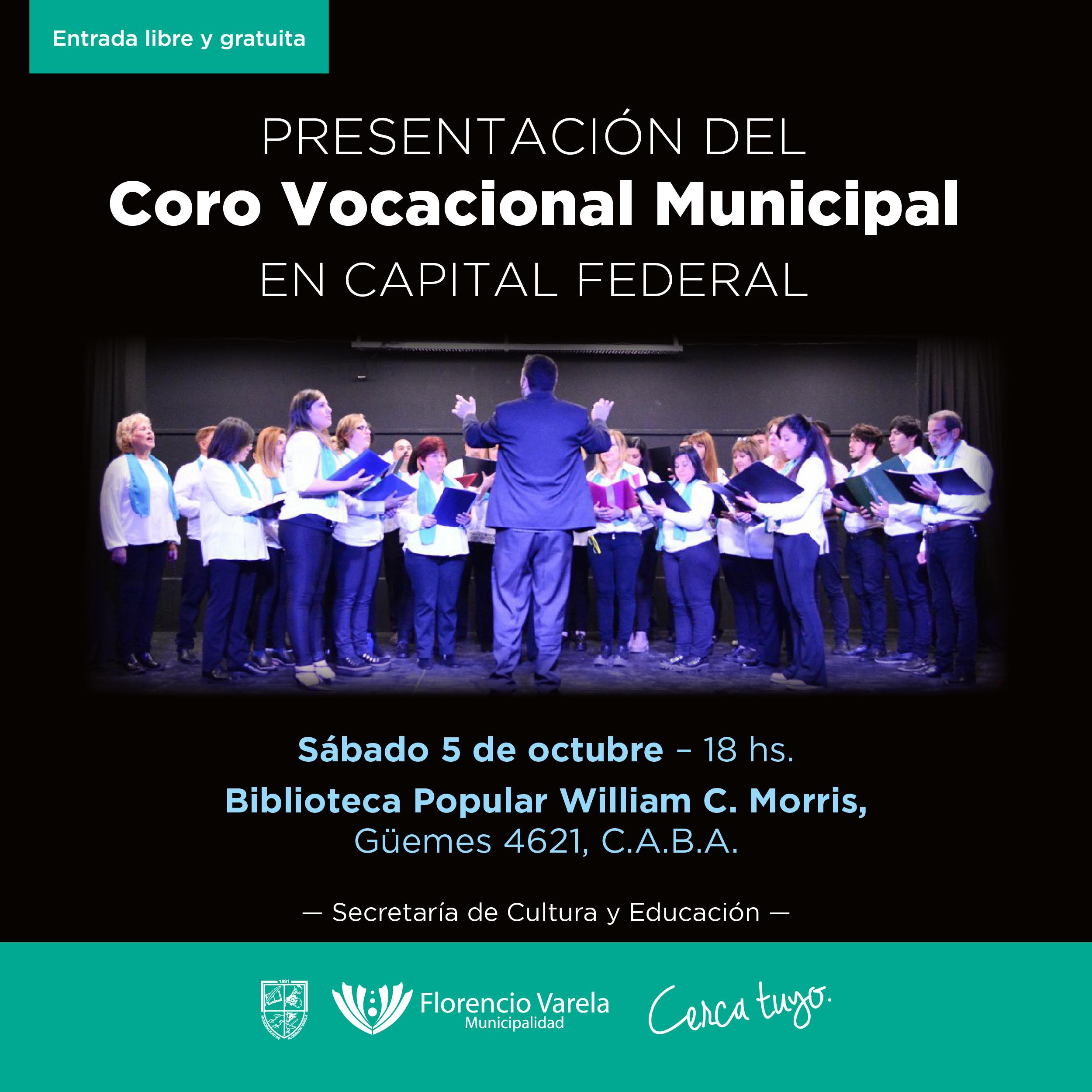 CORO VOCACIONAL MUNICIPAL DE FCIO. VARELA SE PRESENTA EN C.A.B.A.